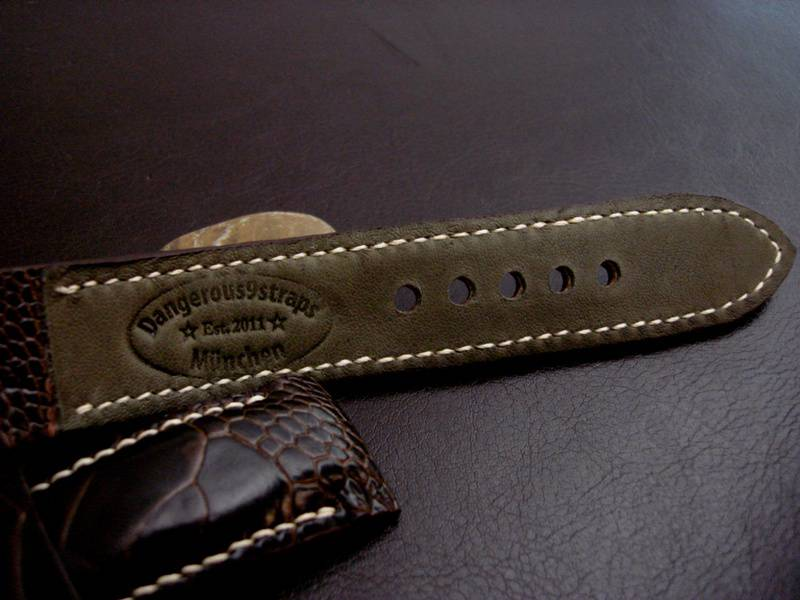 Custom Watch strap for Panerai made from Tobacco Ostrich Leg skin