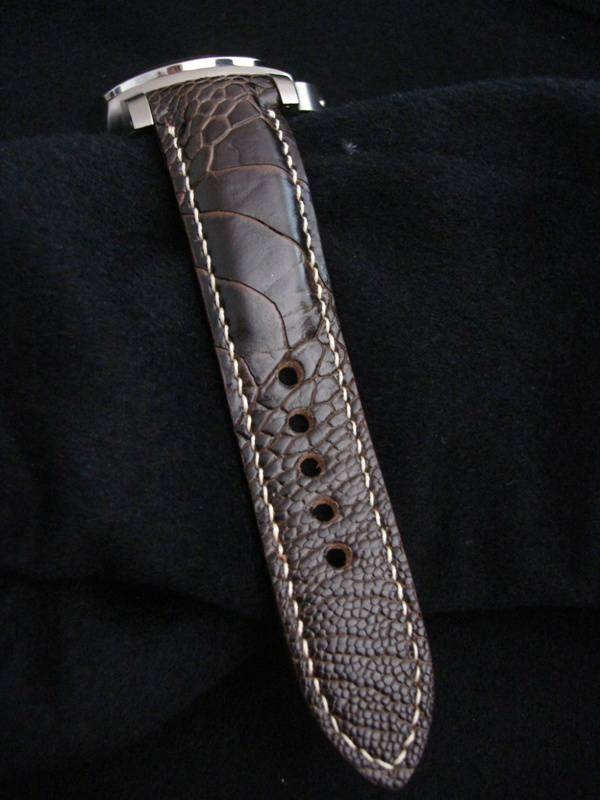 Custom Watch Strap for Panerai made from Satin finish Tobacco Ostrich Leg skin