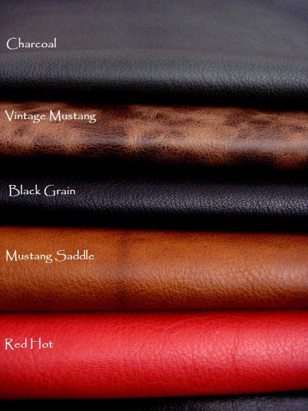Kidskins Colors: Charcoal, Vintage Mustang, Black Grain, Mustang Saddle, and Red Hot
