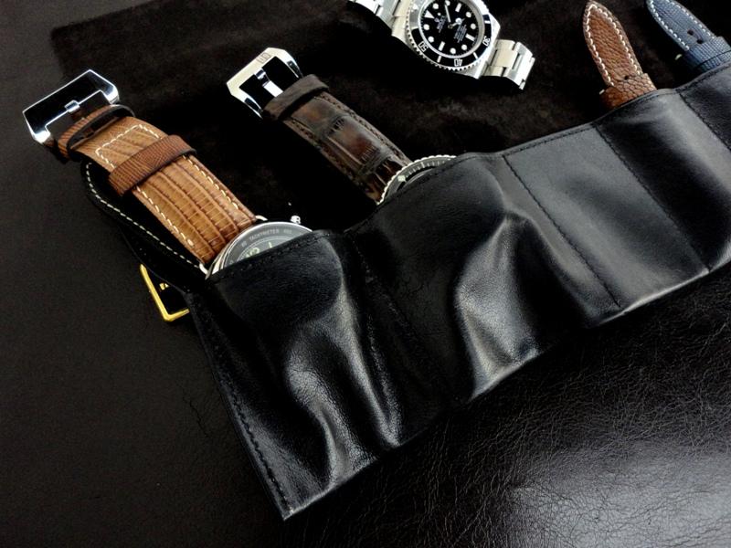 Incas Black Kangaroo leather Watch & Strap Travel Roll