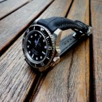 SuperMatte Black Alligator strap for Rolex Sub with Integrated fit