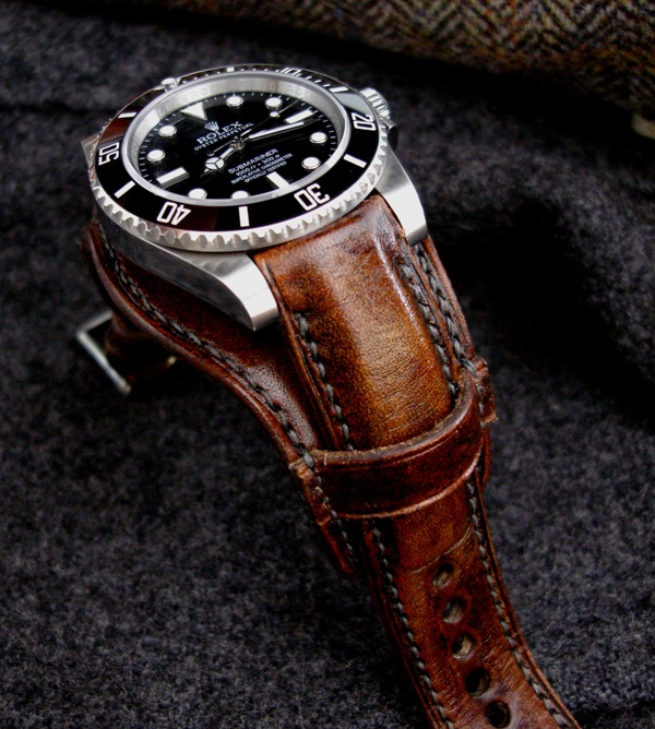 Rolex Sub on Antique French Oak leather Bund strap -