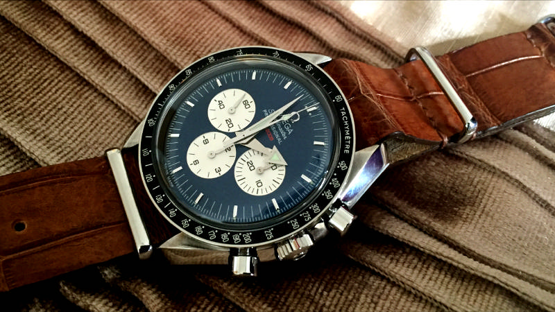 Omega Speedmaster racing on SuperMatte Black Teju with Orange Teju Lizard Lining