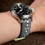 Black Row Stone Stingray watch strap for IWC Big Pilot