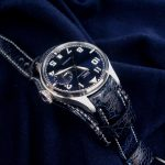 Mid-Night Blue Ostrich Leg Watch strap for IWC Big Pilot with Integrated Fit and Bund underlayment