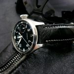 Black Ostrich Leg watch strap for IWC Big Pilot with Integrated fit