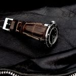 Custom Tourbe Brune Alligator Watch Strap for Blancpain Fifty Fathoms with Fully Integrated Fit