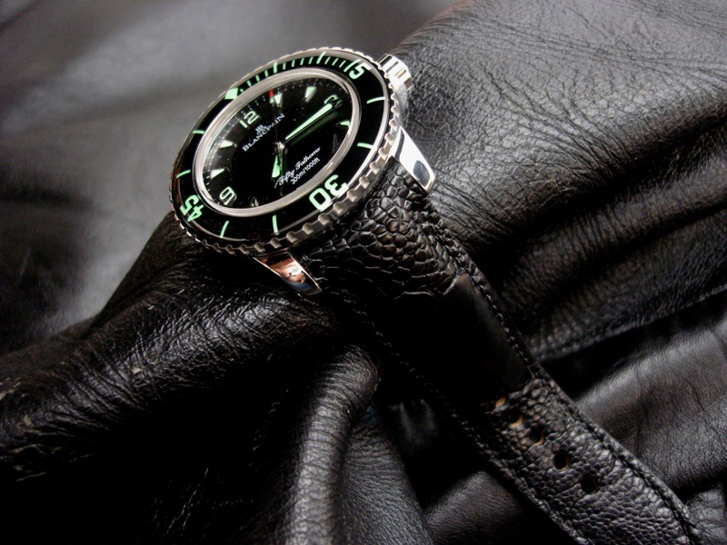 Satin Black Ostrich Leg strap with TCLS for Blancpain Fifty Fathoms