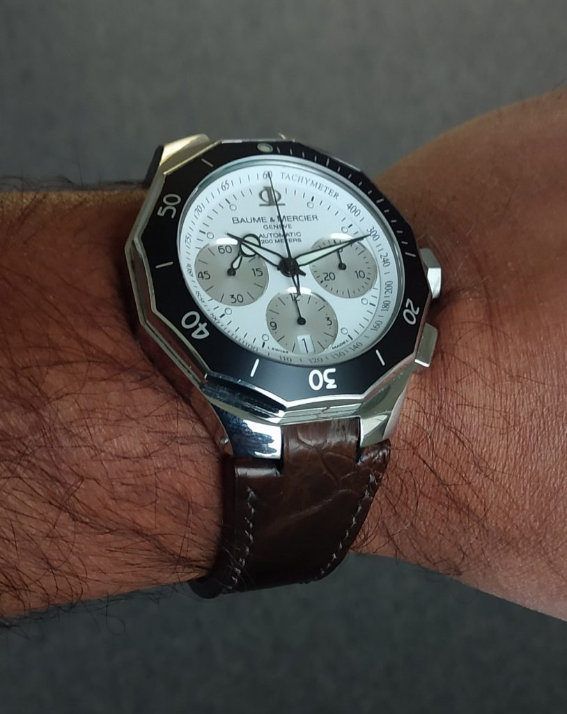 Custom Watch Straps Customer Photos - Ajay's Baume & Mercier on Cigar Ostrich Leg strap