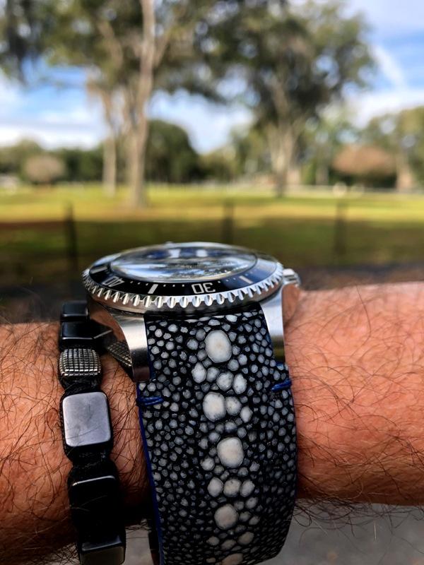 Row Stone Stingray strap on Rolex Deep Sea D-Blu