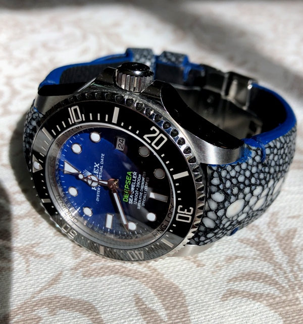Row Stone Stingray strap on Rolex Deep Sea D-Blu