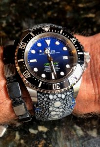 Row Stone Stingray strap on Rolex Deep Sea D-Blue