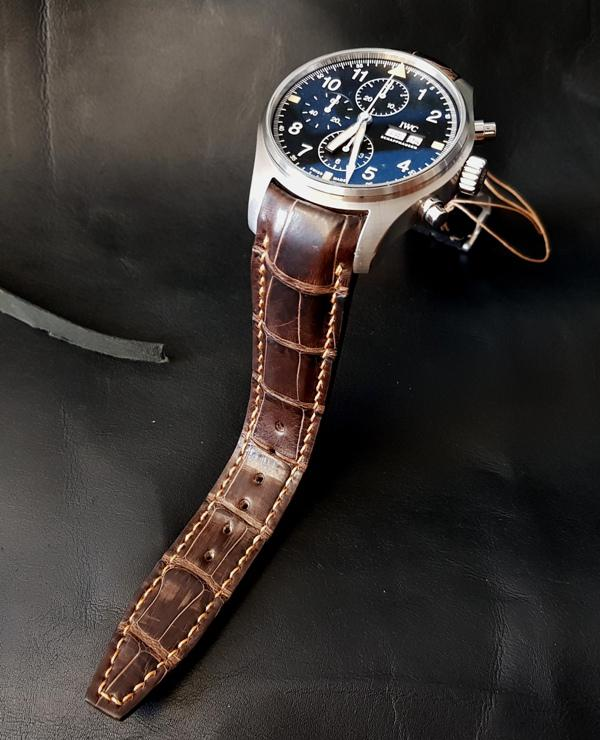 Alligator strap with Integrated fit for IWC Pilot Chronograph