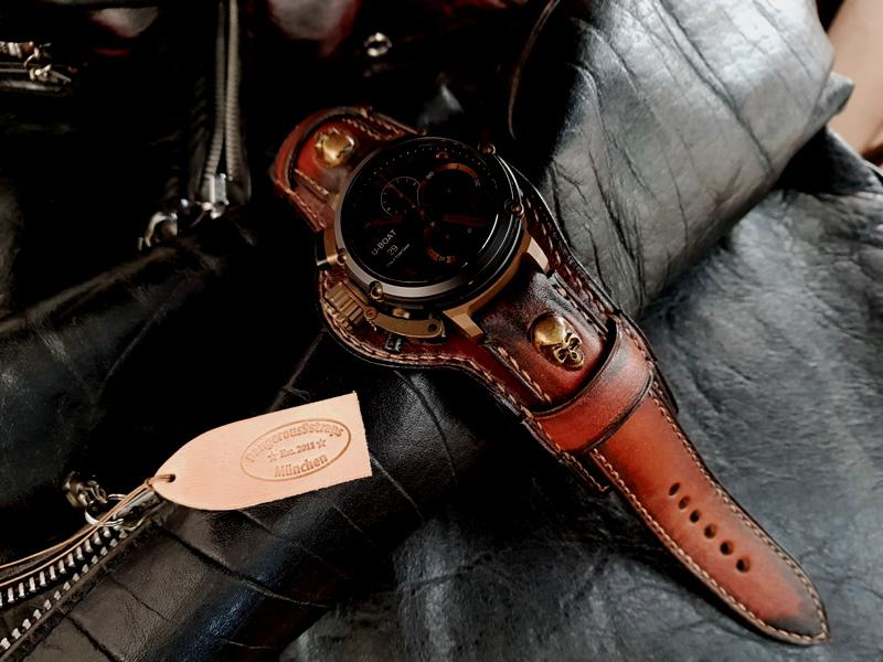 Custom 'Antique Mahogany' Leather Watch Strap for U-Boat CHIMERA 46mm with Bronze finished skulls at the lugs and bund underlayment