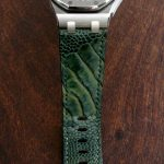 Custom Watch Strap for Audemars Piguet Diver made from 'Cypress' colored Ostrich Leg Skin