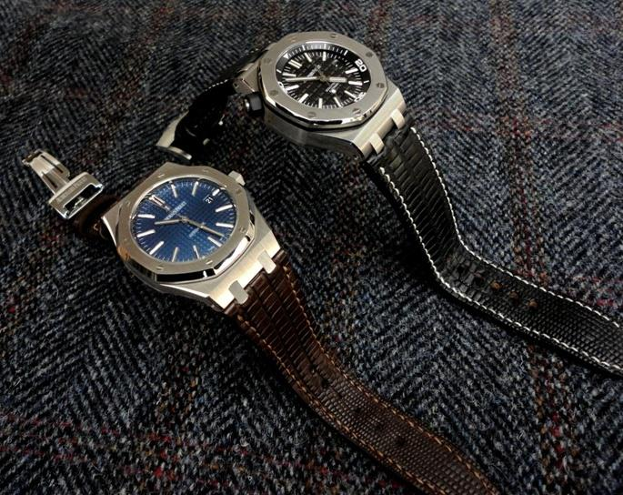 Custom Watch Straps for Audemars Piguet Royal Oak 15400 Blue and Diver: Tobacco and Racing Black Teju Lizard