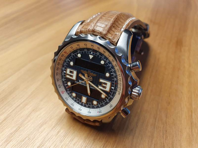 Custom Watch Strap for Breitling Chronospace made from Racing Tan Teju Lizard with Integrated fit