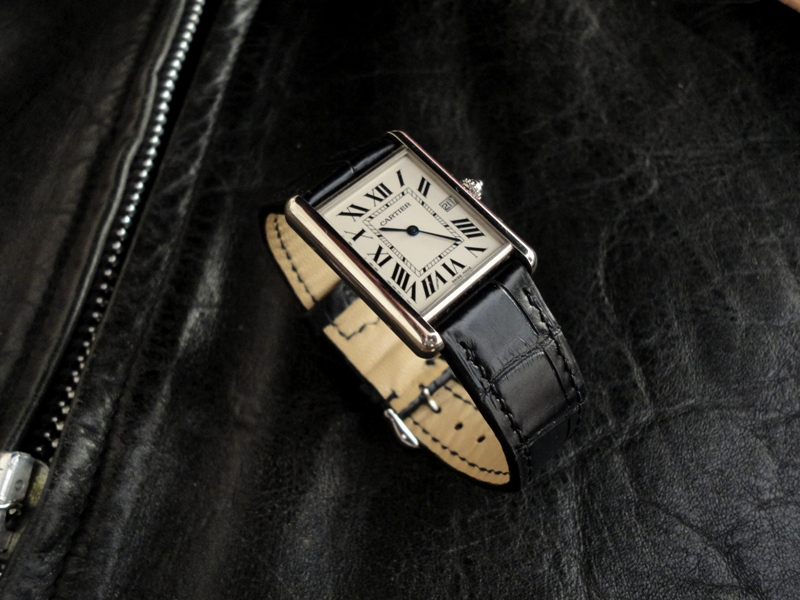 Racing Black Alligator strap for vintage Cartier Tank