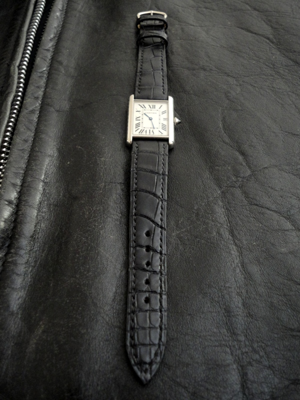 Racing Black Alligator strap for vintage Cartier Tank - the long view