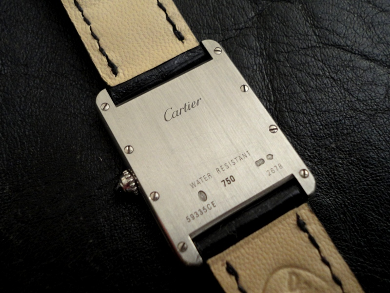 Case Back Racing Black Alligator strap for vintage Cartier Tank