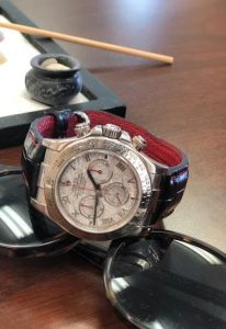 'Million Dollar Black' Alligator strap for Rolex Meteorite Daytona