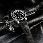Jurassic Black African Goat strap with Hornback Alligator insert on Rolex Sub