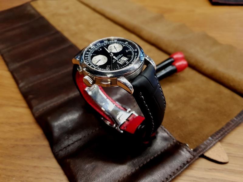 Custom SuperMatte Black Alligator Straps for A. Lange Datograph