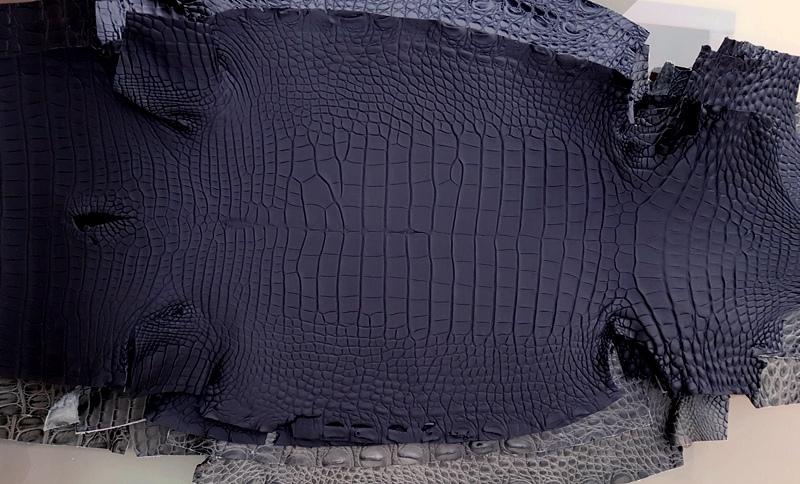 SuperMatte Carbon Black Alligator - Newly Arrived Alligator Hides from France Croco!