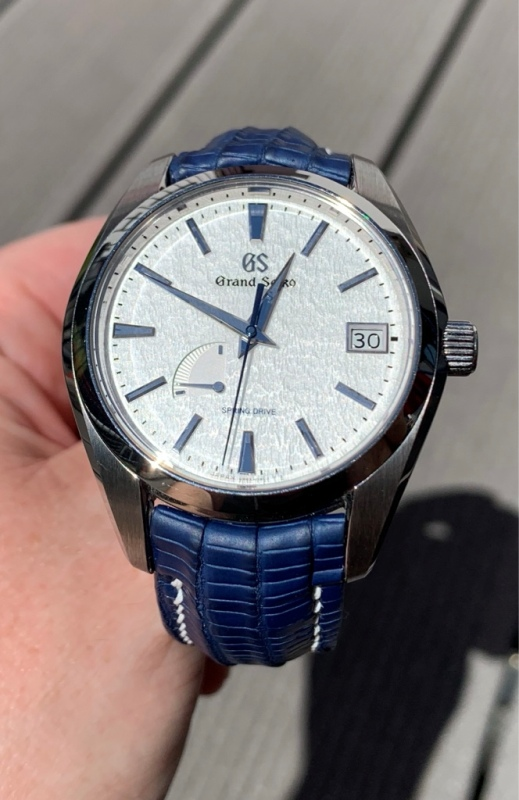 Baltic Blue SuperMatte Teju Lizard Strap for Grand Seiko Snowflake