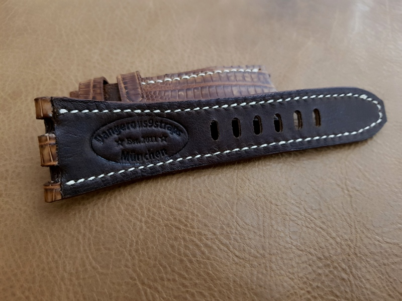 Custom Strap for Audemars Piguet Safari - Motorcycle Chocolate Kangaroo lining
