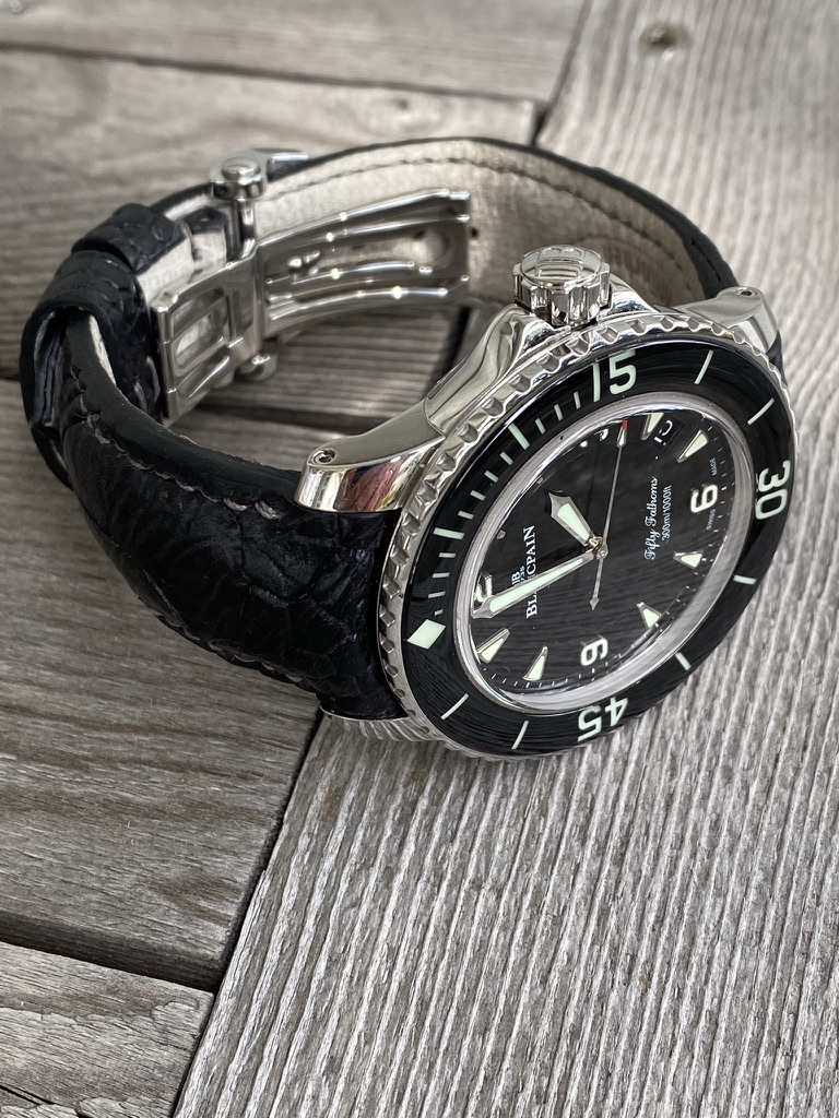 Black Ostrich Leg Strap for Blancpain Fifty Fathoms
