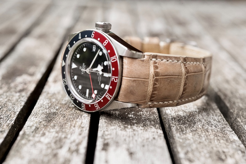 Custom Strap for Tudor Pepsi GMT - Bamboo Alligator with Fully Integrated Fit