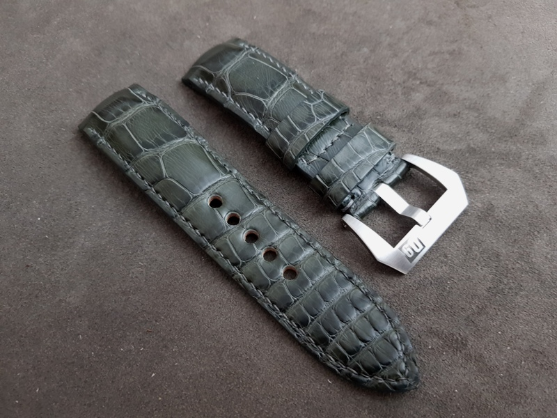 Grigio-Verde Alligator strap for Panerai