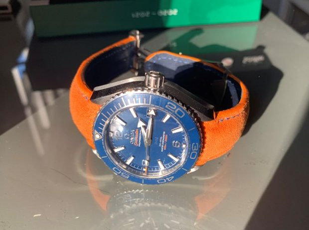 Lambo Orange Alcantara strap for Omega Planet Ocean