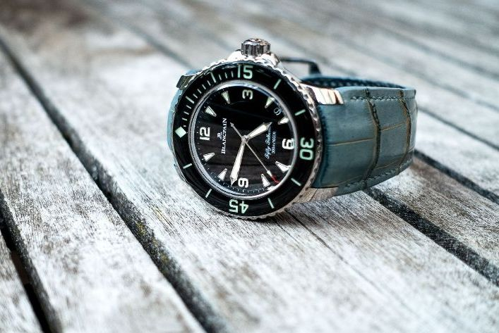 Custom Saint Tropez Bleu Alligator Strap for Blancpain Fifty Fathoms with Fully Integrated Fit (FIF):
