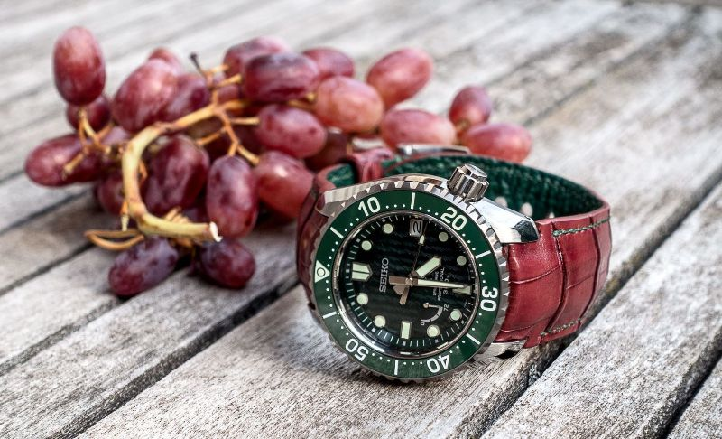 Custom Vin de Baies (Berry wine) Alligator Watch strap Strap for Seiko SNR045J1