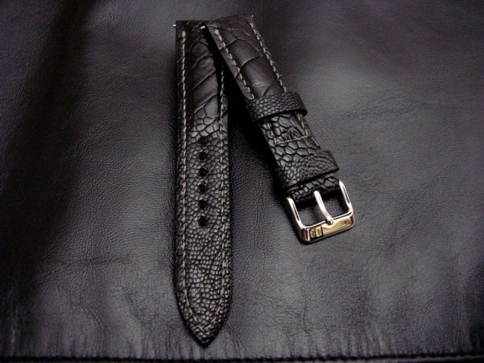 Satin-Black-Ostrich-Leg-skin-watch-strap