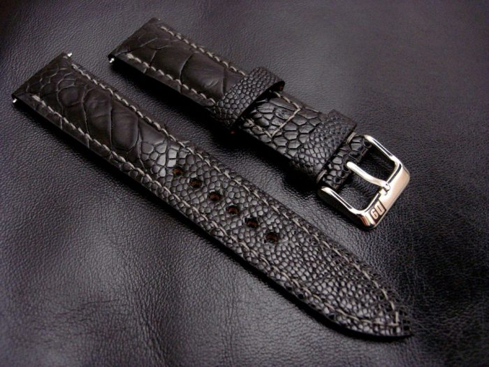 Satin-Black-Ostrich-Leg-skin-watch-strap-1