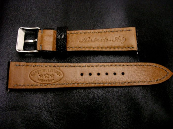 Satin-Black-Ostrich-Leg-skin-watch-strap-with-Classic-Tan-lining