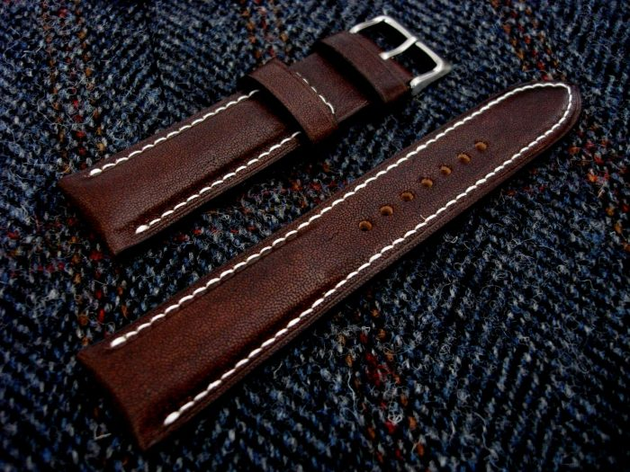 Mahogany-Kangaroo-Leather-watch-strap-for22mm-lug-width-22/20mm-1