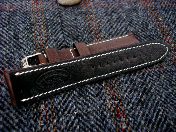Mahogany-Kangaroo-Leather-watch-strap-for-22mm-lug-width-with-black-Kidskin-Lining