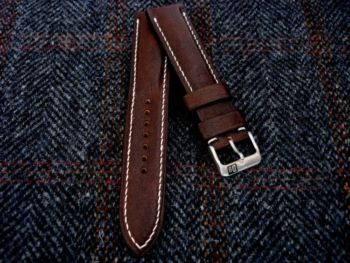 Mahogany-Kangaroo-Leather-watch-strap-for22mm-lug-width-22/20mm