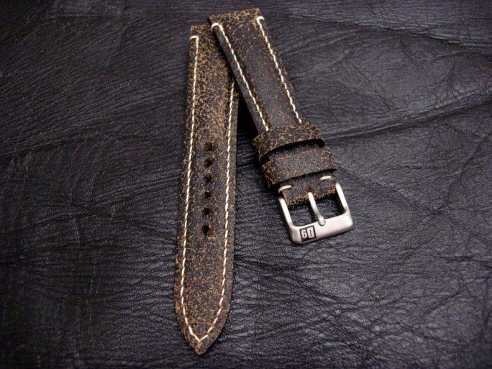 Black-Super-Distressed-Crackle-finish-watch-strap-for-lug-width-20mm