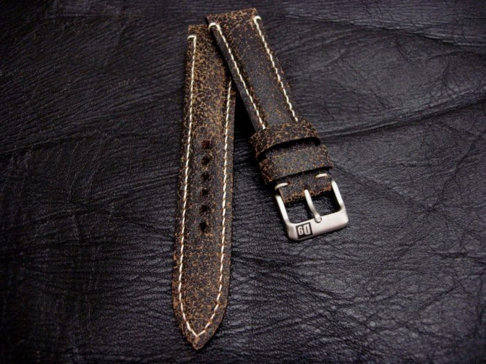 Black-Super-Distressed-Crackle-finish-watch-strap-for-lug-width-20mm