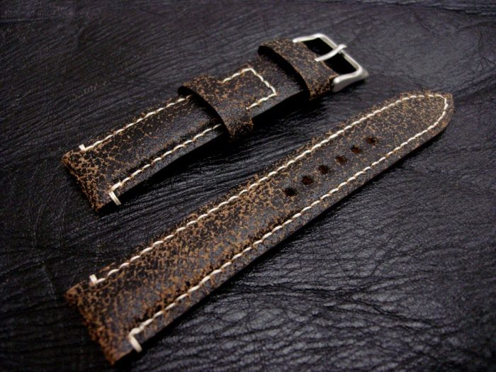Black-Super-Distressed-Crackle-finish-watch-strap-for-lug-width-20mm-1