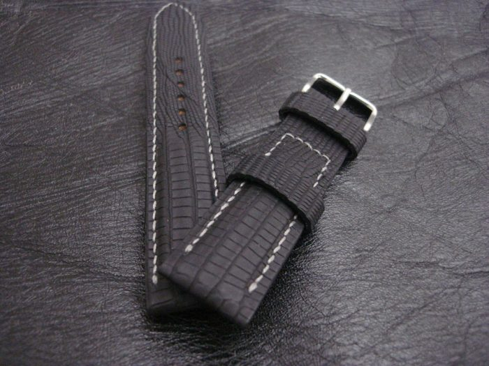 Super-Mattes-Schwarzes-Uhrenarmband -Teju-Eidechse-22/20mm