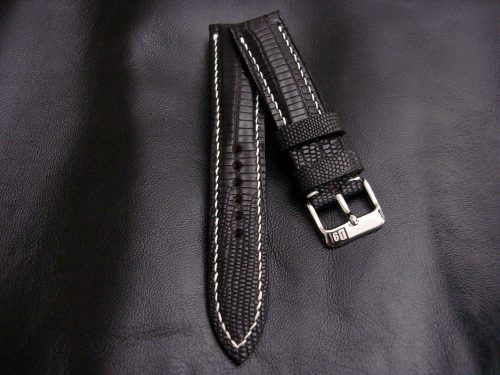 Racing-Black -Teju-Lizard-watch-strap-for 20mm-lug-width