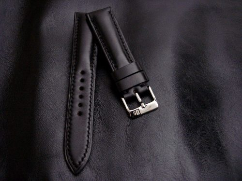 Waxy-Black-Calfskin-Leather-watch-strap-20/18mm-width