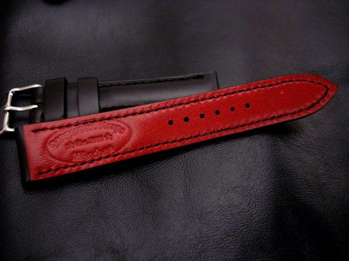 Waxy-Black-Calfskin-Leather-watch-strap-20/18mm-width