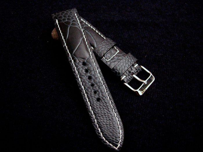 Monaco-Blaues-Uhrenarmband-Straußenleder-Stegbreite-22mm-Schließenanstoß-20mm-1